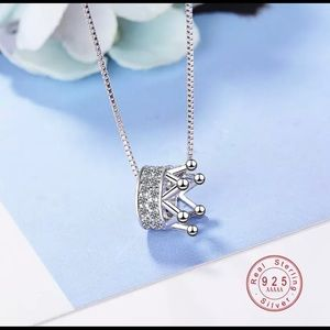 Jewelry - 925 Sterling Silver Crown Pendant and Chain